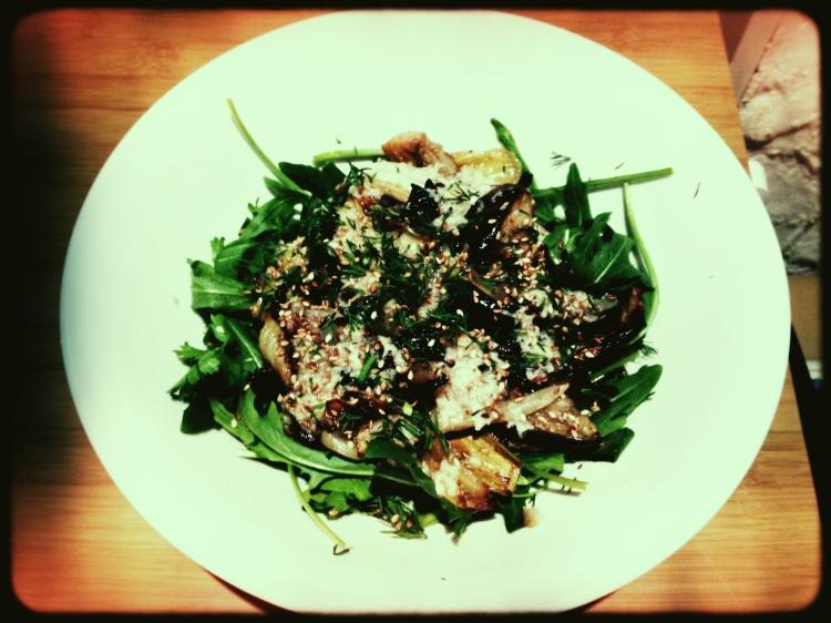 Roast Fennel, Eggplant and Leek Salad