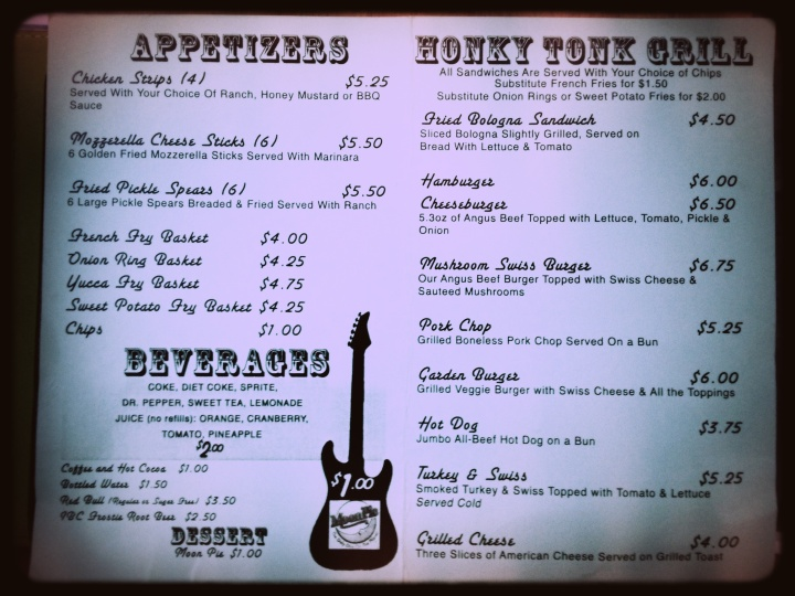 Nashville Palace Menu