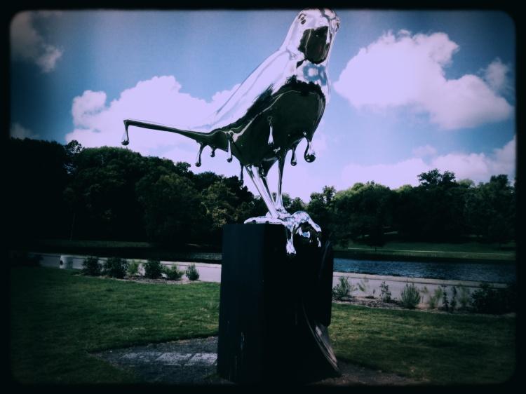 Stainless Steel Silver Bird Sculpture at Shelby Park, Nashville