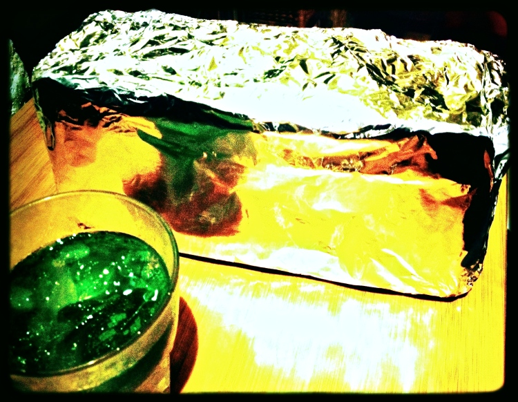 Yes, that is a house brick wrapped in foil with a Mojito in the foreground